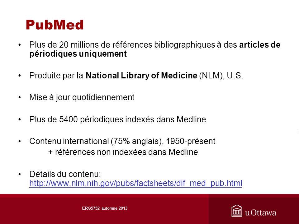 PubMed Plus de 20 millions de références bibliographiques à des articles de périodiques uniquement Produite par la National Library of Medicine (NLM), U.S.