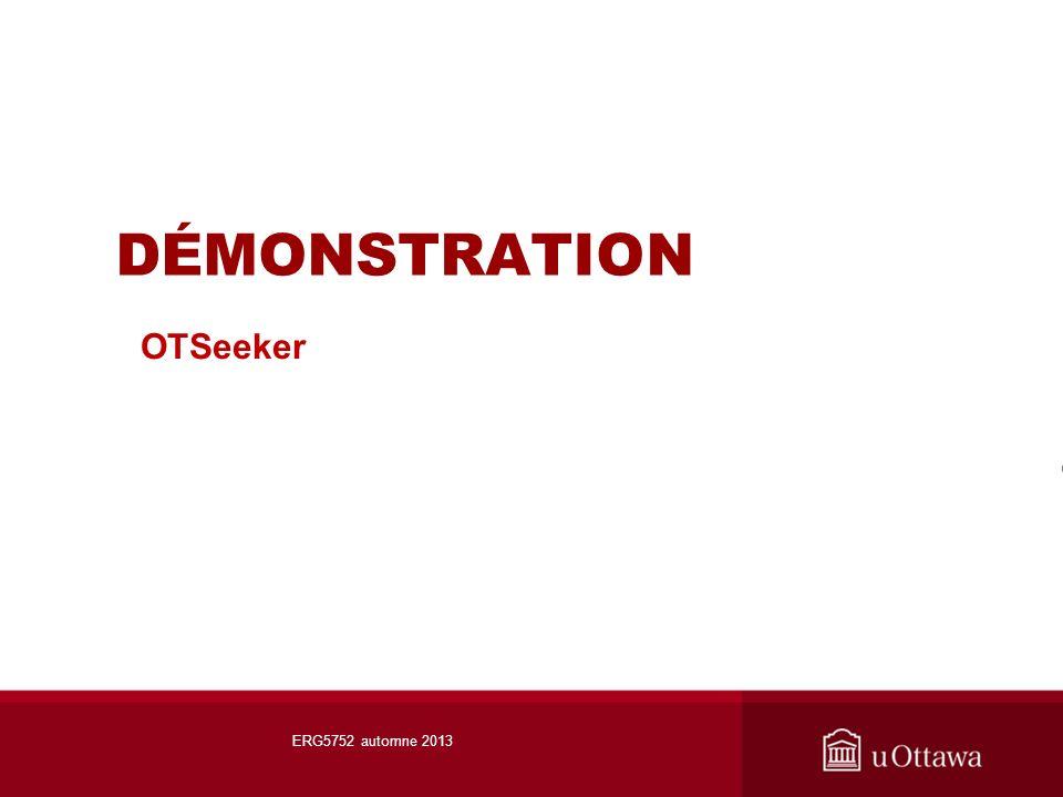 DÉMONSTRATION OTSeeker ERG5752 automne 2013