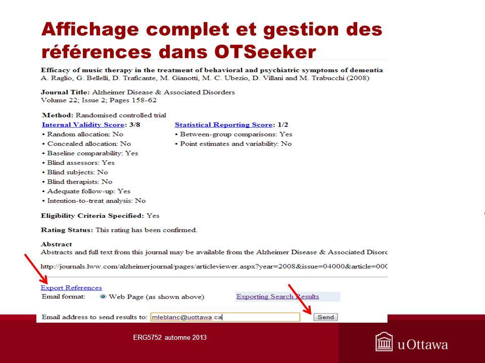 Affichage complet et gestion des références dans OTSeeker ERG5752 automne 2013