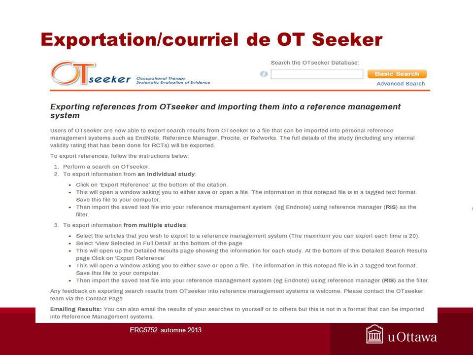 Exportation/courriel de OT Seeker ERG5752 automne 2013