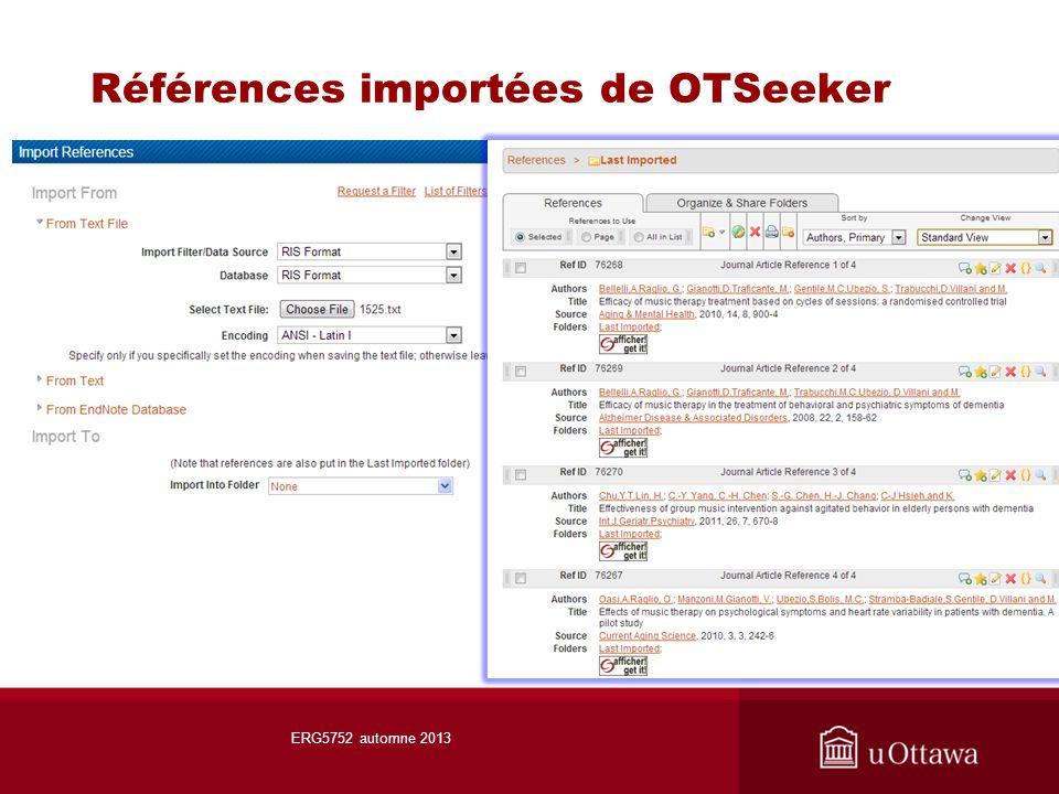 Références importées de OTSeeker ERG5752 automne 2013