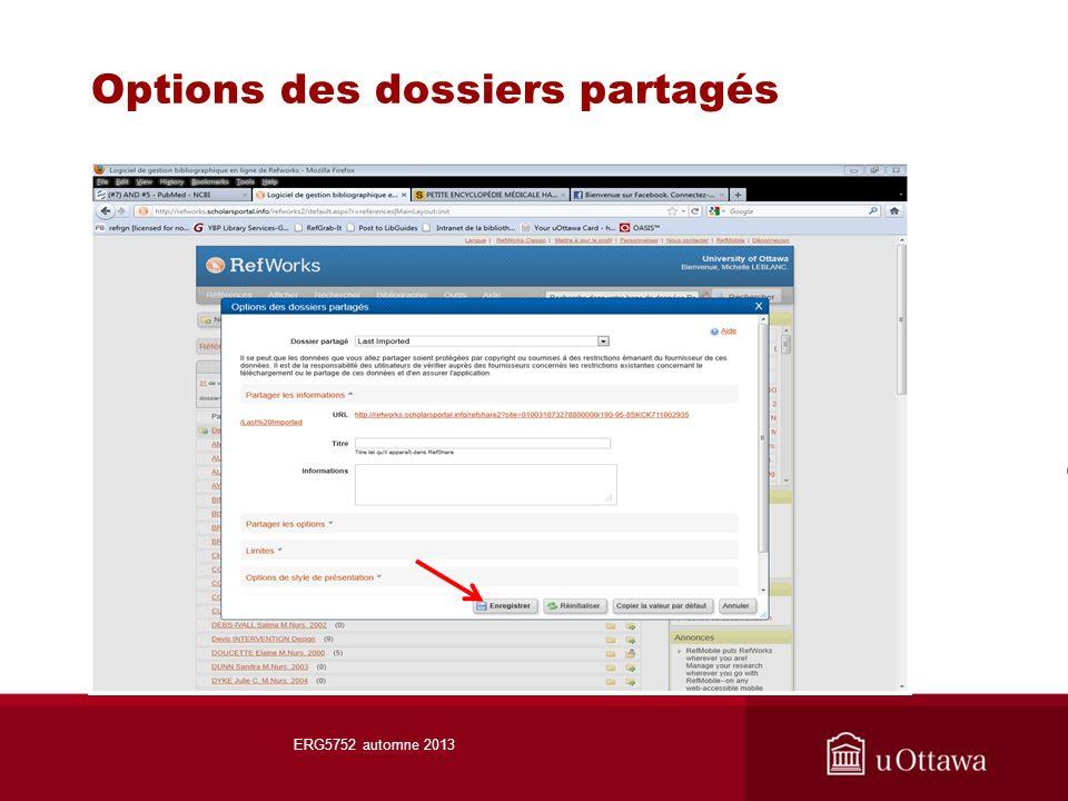 Options des dossiers partagés ERG5752 automne 2013