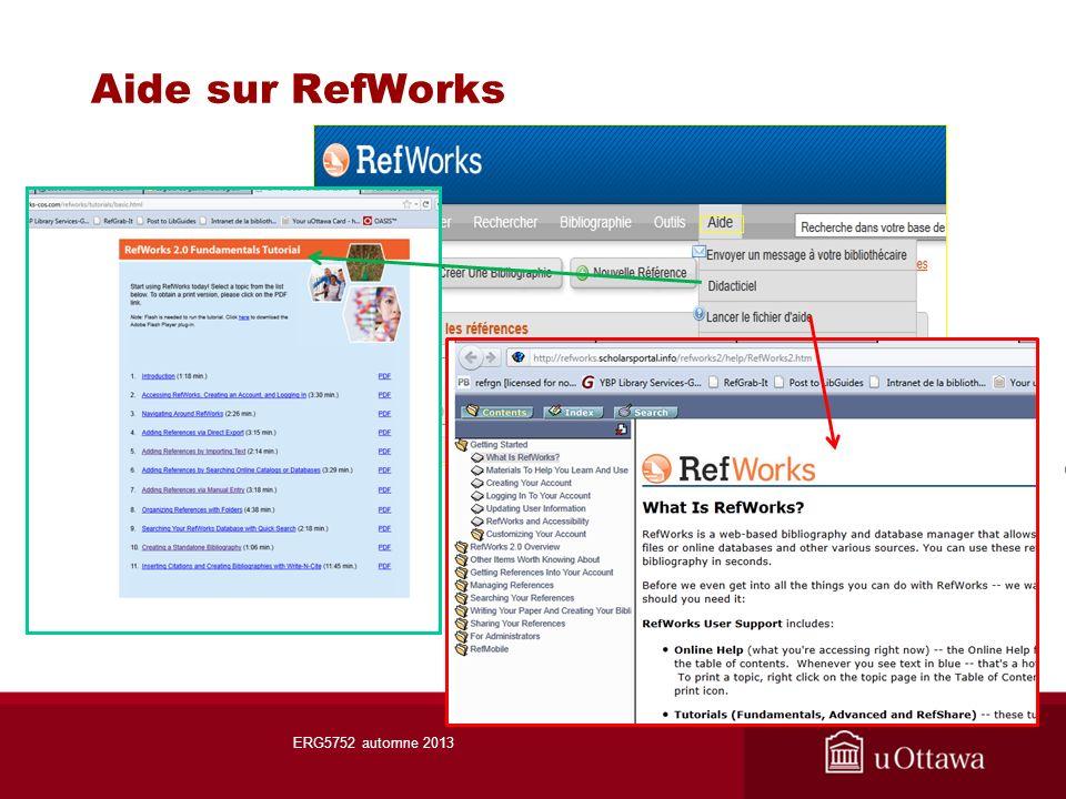 Aide sur RefWorks ERG5752 automne 2013