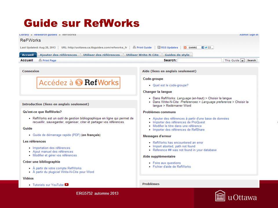 Guide sur RefWorks ERG5752 automne 2013