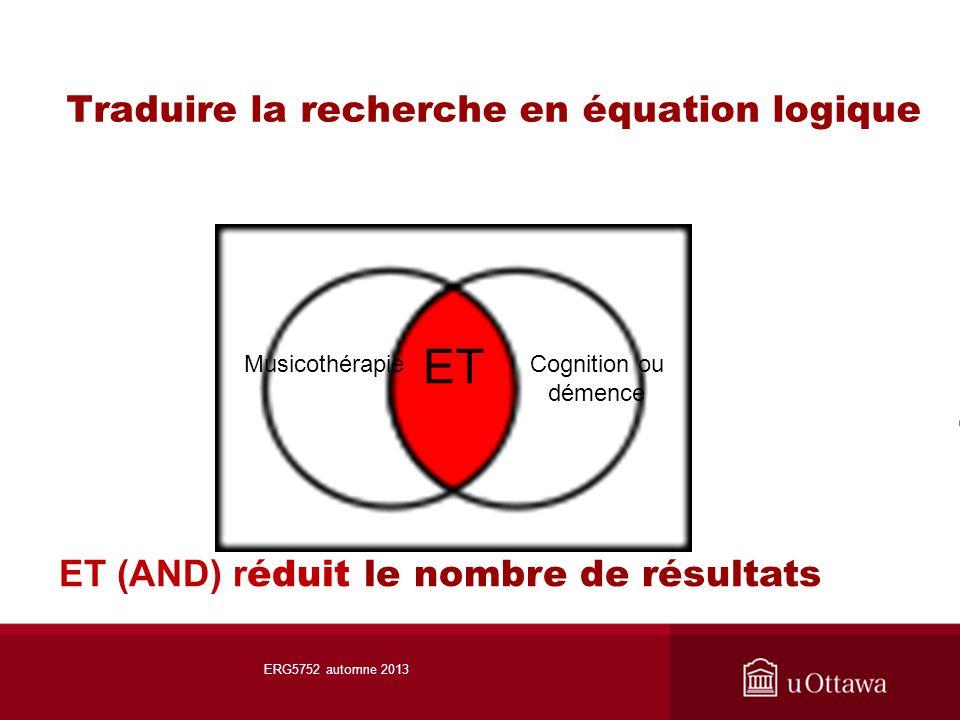 Traduire la recherche en équation logique ET MusicothérapieCognition ou démence ET (AND) r éduit le nombre de résultats ERG5752 automne 2013