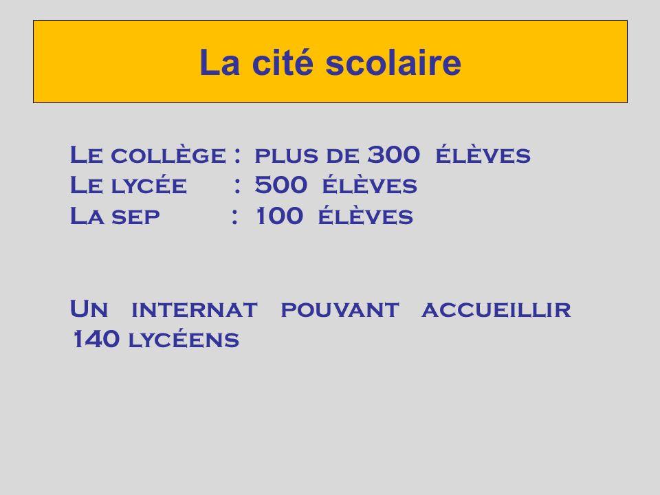La cité scolaire Le collège : plus de 300 élèves Le lycée : 500 élèves La sep : 100 élèves Un internat pouvant accueillir 140 lycéens