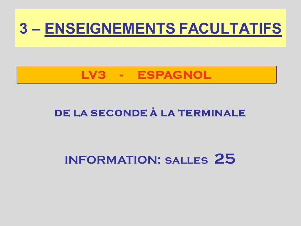 3 – ENSEIGNEMENTS FACULTATIFS LV3 - ESPAGNOL de la seconde à la terminale INFORMATION: salles 25