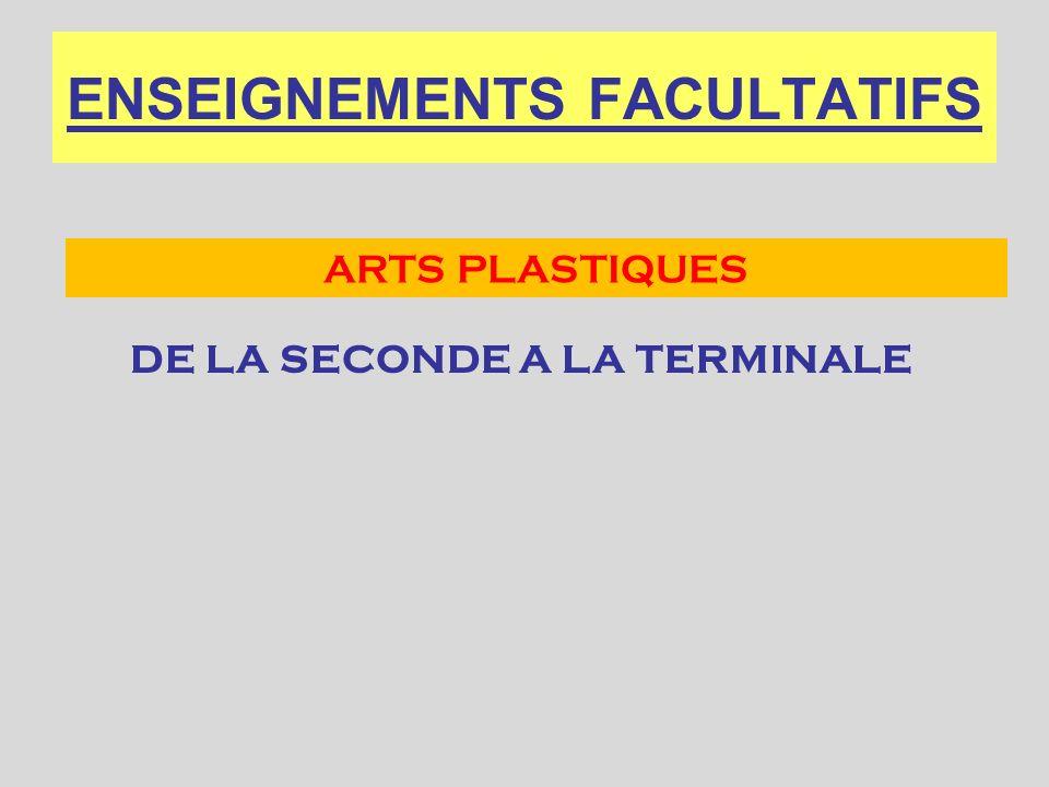 ENSEIGNEMENTS FACULTATIFS DE LA SECONDE A LA TERMINALE ARTS PLASTIQUES