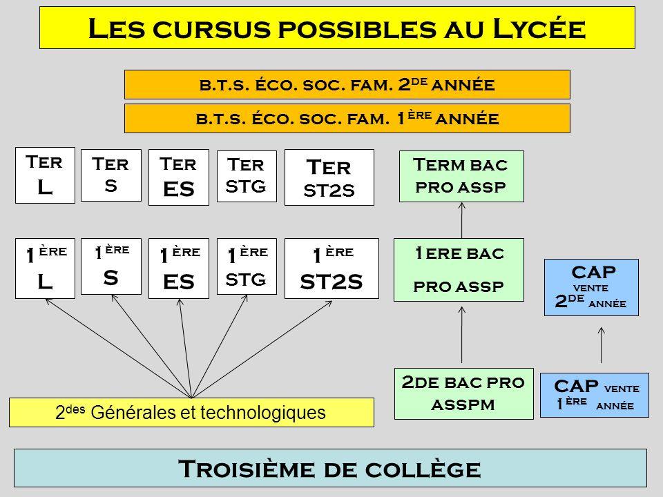 Les cursus possibles au Lycée Troisième de collège 2 des Générales et technologiques 2de bac pro asspm 1 ère L 1 ère S 1 ère ES 1 ère STG 1 ère ST2S 1
