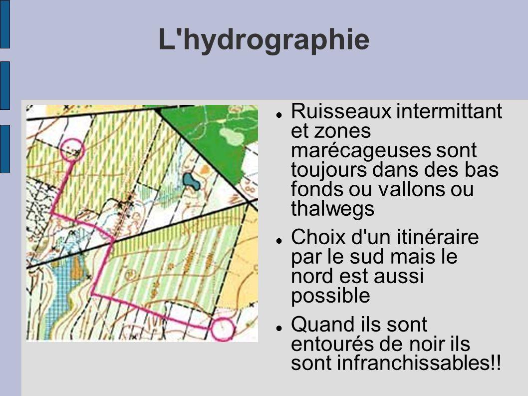 Ruisseaux intermittant et zones marécageuses sont toujours dans des bas fonds ou vallons ou thalwegs Choix d'un itinéraire par le sud mais le nord est