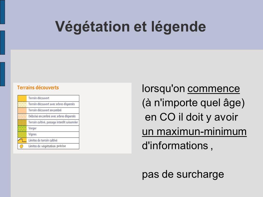 lorsqu'on commence (à n'importe quel âge) en CO il doit y avoir un maximun-minimum d'informations, pas de surcharge Végétation et légende