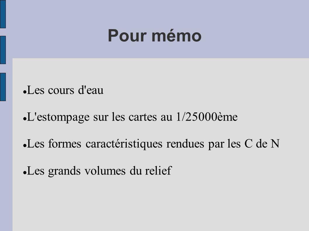 Pour mémo Les cours d'eau L'estompage sur les cartes au 1/25000ème Les formes caractéristiques rendues par les C de N Les grands volumes du relief