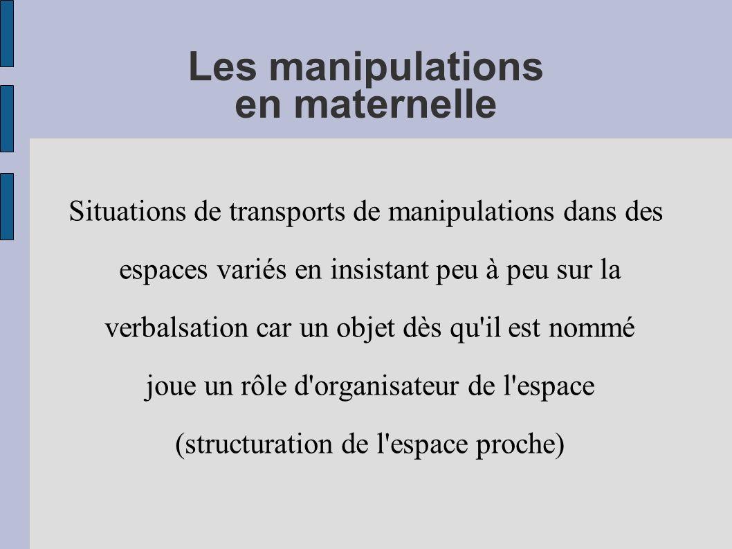 Les manipulations en maternelle Situations de transports de manipulations dans des espaces variés en insistant peu à peu sur la verbalsation car un ob