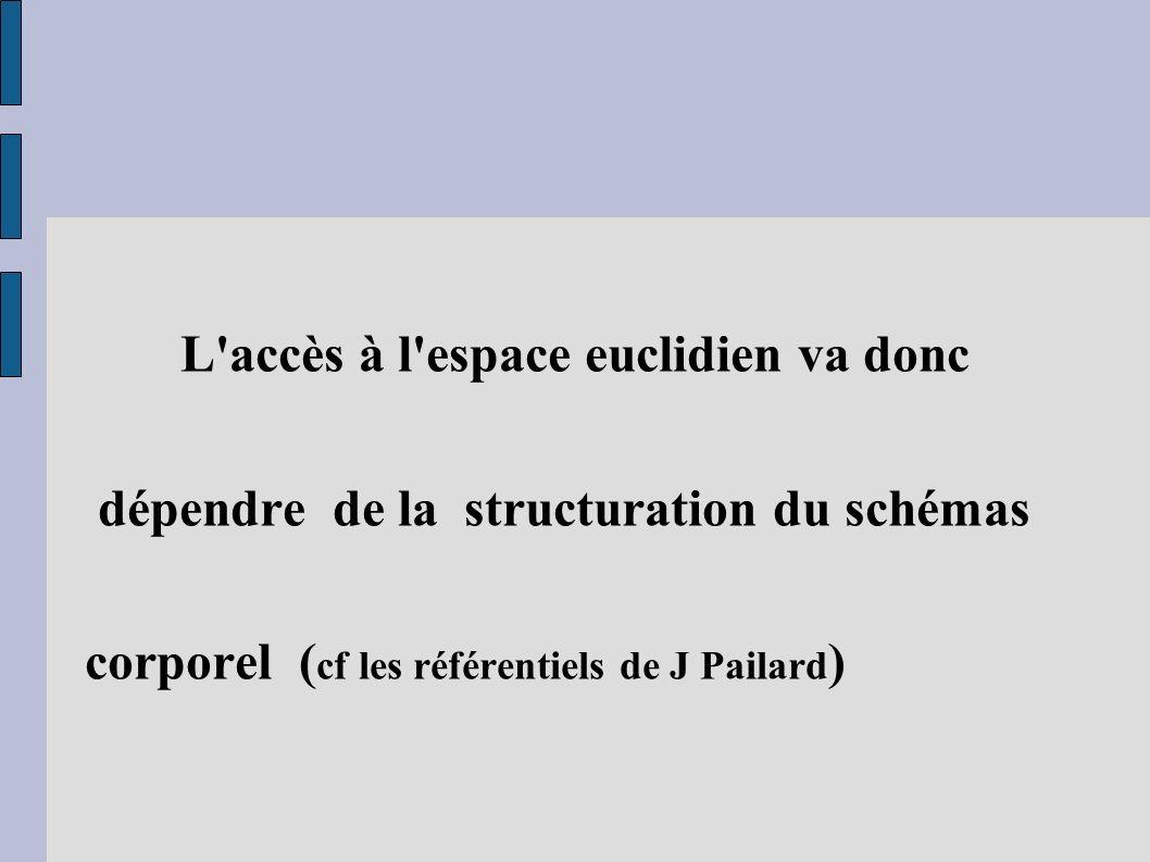 L'accès à l'espace euclidien va donc dépendre de la structuration du schémas corporel ( cf les référentiels de J Pailard )