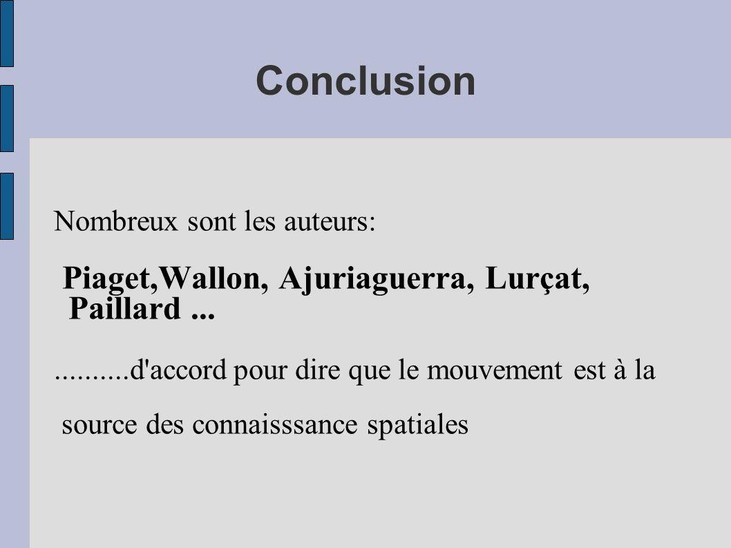 Conclusion Nombreux sont les auteurs: Piaget,Wallon, Ajuriaguerra, Lurçat, Paillard.............d'accord pour dire que le mouvement est à la source de