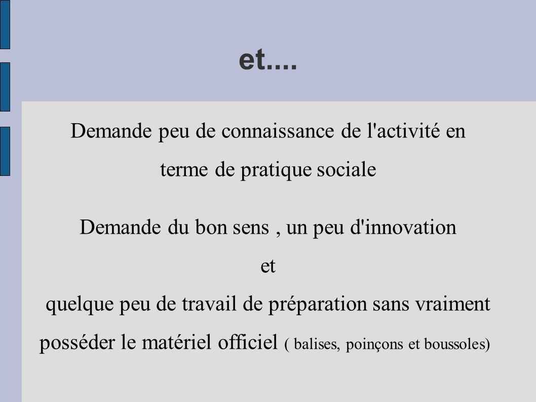 et.... Demande peu de connaissance de l'activité en terme de pratique sociale Demande du bon sens, un peu d'innovation et quelque peu de travail de pr