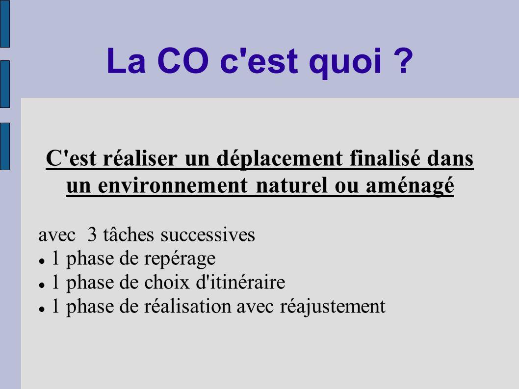 La CO c'est quoi ? C'est réaliser un déplacement finalisé dans un environnement naturel ou aménagé avec 3 tâches successives 1 phase de repérage 1 pha