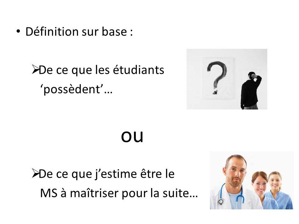 Définition sur base : De ce que les étudiants possèdent… ou De ce que jestime être le MS à maîtriser pour la suite…