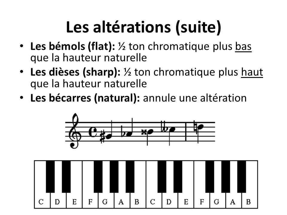 Les bémols (flat): ½ ton chromatique plus bas que la hauteur naturelle Les dièses (sharp): ½ ton chromatique plus haut que la hauteur naturelle Les bécarres (natural): annule une altération Les altérations (suite)