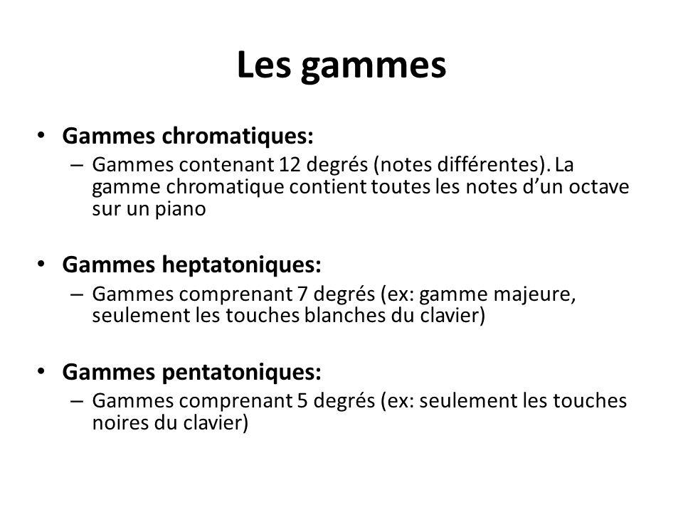 Les gammes Gammes chromatiques: – Gammes contenant 12 degrés (notes différentes).