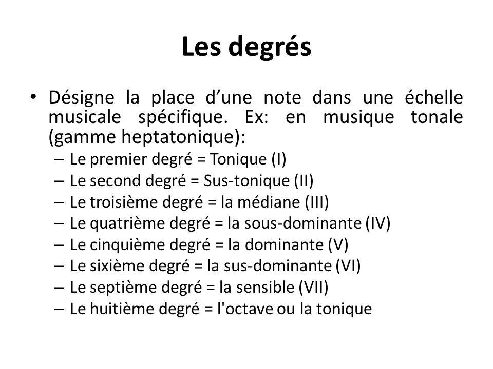Les degrés Désigne la place dune note dans une échelle musicale spécifique. Ex: en musique tonale (gamme heptatonique): – Le premier degré = Tonique (