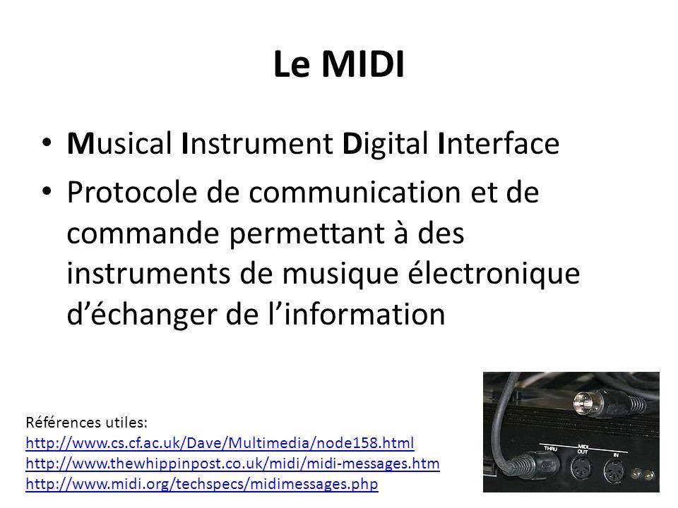 Le MIDI Musical Instrument Digital Interface Protocole de communication et de commande permettant à des instruments de musique électronique déchanger de linformation Références utiles: http://www.cs.cf.ac.uk/Dave/Multimedia/node158.html http://www.thewhippinpost.co.uk/midi/midi-messages.htm http://www.midi.org/techspecs/midimessages.php