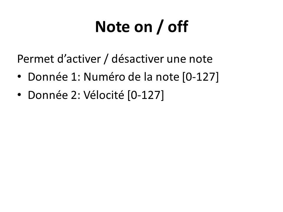 Note on / off Permet dactiver / désactiver une note Donnée 1: Numéro de la note [0-127] Donnée 2: Vélocité [0-127]