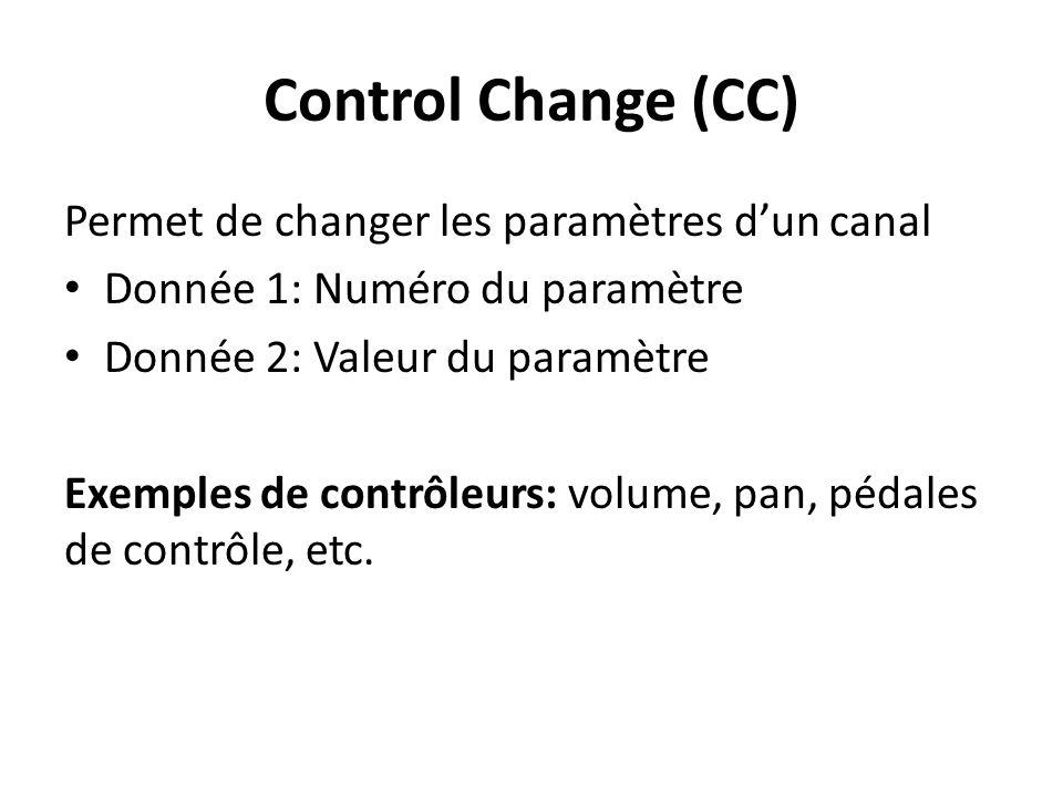 Control Change (CC) Permet de changer les paramètres dun canal Donnée 1: Numéro du paramètre Donnée 2: Valeur du paramètre Exemples de contrôleurs: volume, pan, pédales de contrôle, etc.