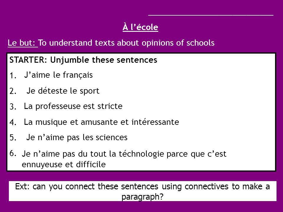 Mon école Jétudie huit __________ au total.Ma matière préférée est _________.