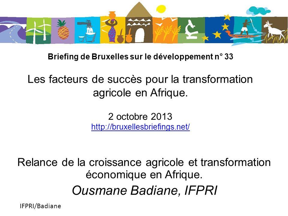 IFPRI/Badiane Briefing de Bruxelles sur le développement n° 33 Les facteurs de succès pour la transformation agricole en Afrique.