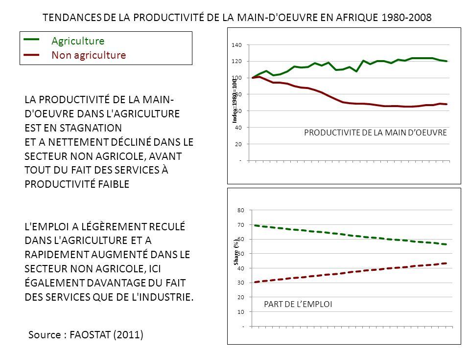 TENDANCES DE LA PRODUCTIVITÉ DE LA MAIN-D OEUVRE EN AFRIQUE 1980-2008 LA PRODUCTIVITÉ DE LA MAIN- D OEUVRE DANS L AGRICULTURE EST EN STAGNATION ET A NETTEMENT DÉCLINÉ DANS LE SECTEUR NON AGRICOLE, AVANT TOUT DU FAIT DES SERVICES À PRODUCTIVITÉ FAIBLE L EMPLOI A LÉGÈREMENT RECULÉ DANS L AGRICULTURE ET A RAPIDEMENT AUGMENTÉ DANS LE SECTEUR NON AGRICOLE, ICI ÉGALEMENT DAVANTAGE DU FAIT DES SERVICES QUE DE L INDUSTRIE.
