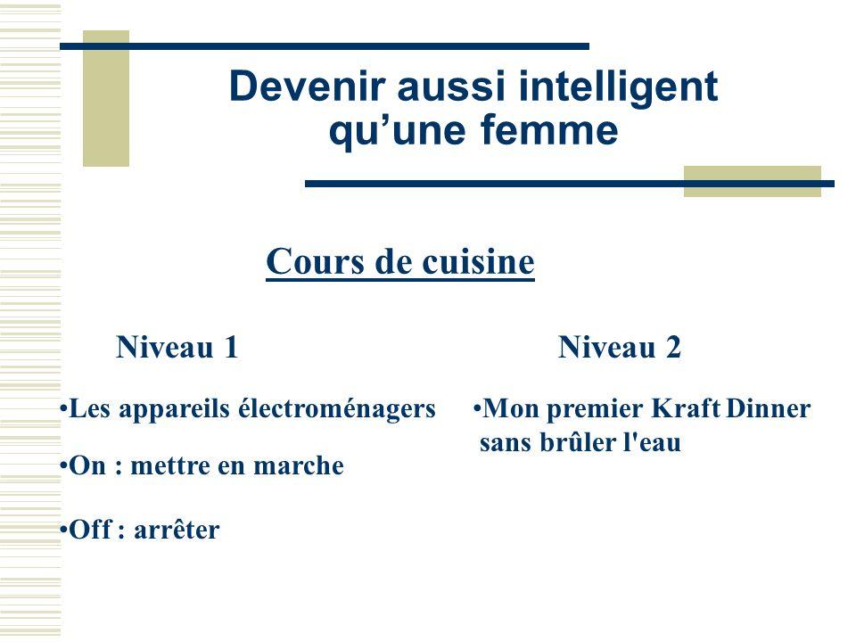 Devenir aussi intelligent quune femme Cours de cuisine Niveau 1 Les appareils électroménagers On : mettre en marche Off : arrêter Niveau 2 Mon premier