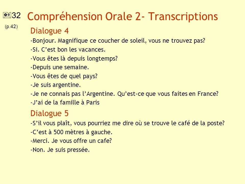 Compréhension Orale 2- Transcriptions Dialogue 4 -Bonjour. Magnifique ce coucher de soleil, vous ne trouvez pas? -Si. Cest bon les vacances. -Vous ête