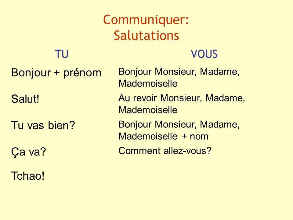 Communiquer: Salutations TUVOUS Bonjour + prénom Bonjour Monsieur, Madame, Mademoiselle Salut! Au revoir Monsieur, Madame, Mademoiselle Tu vas bien? B