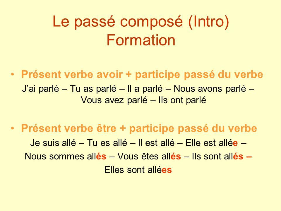 Le passé composé (Intro) Formation Présent verbe avoir + participe passé du verbe Jai parlé – Tu as parlé – Il a parlé – Nous avons parlé – Vous avez