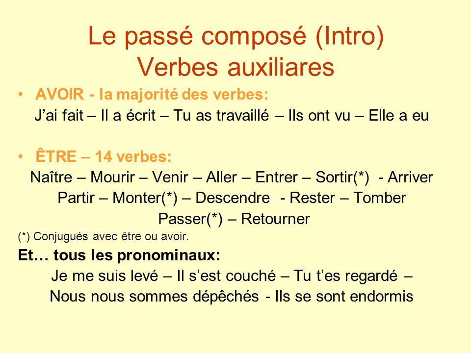 Le passé composé (Intro) Verbes auxiliares AVOIR - la majorité des verbes: Jai fait – Il a écrit – Tu as travaillé – Ils ont vu – Elle a eu ÊTRE – 14