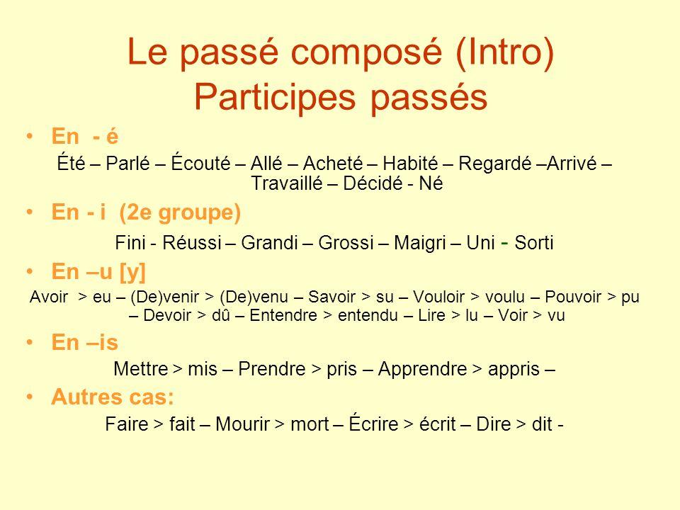 Le passé composé (Intro) Participes passés En - é Été – Parlé – Écouté – Allé – Acheté – Habité – Regardé –Arrivé – Travaillé – Décidé - Né En - i (2e
