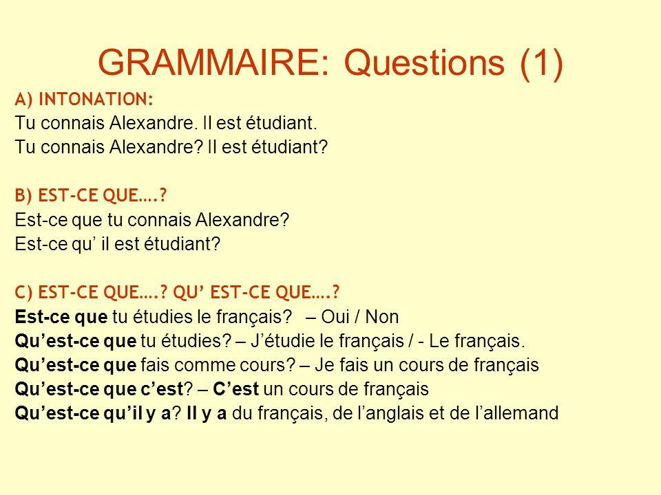 GRAMMAIRE: Questions (1) A) INTONATION: Tu connais Alexandre. Il est étudiant. Tu connais Alexandre? Il est étudiant? B) EST-CE QUE….? Est-ce que tu c
