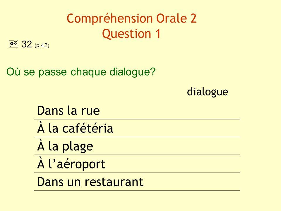 Compréhension Orale 2 Question 1 dialogue Dans la rue À la cafétéria À la plage À laéroport Dans un restaurant Où se passe chaque dialogue? 32 (p.42)