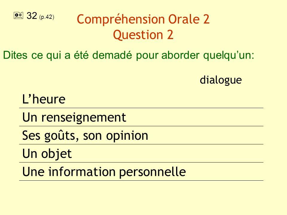 Compréhension Orale 2 Question 2 dialogue Lheure Un renseignement Ses goûts, son opinion Un objet Une information personnelle Dites ce qui a été demad