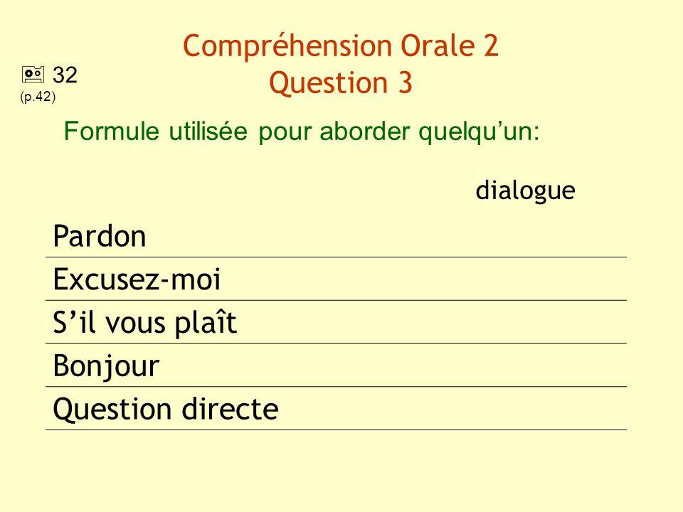 Compréhension Orale 2 Question 3 dialogue Pardon Excusez-moi Sil vous plaît Bonjour Question directe Formule utilisée pour aborder quelquun: 32 (p.42)