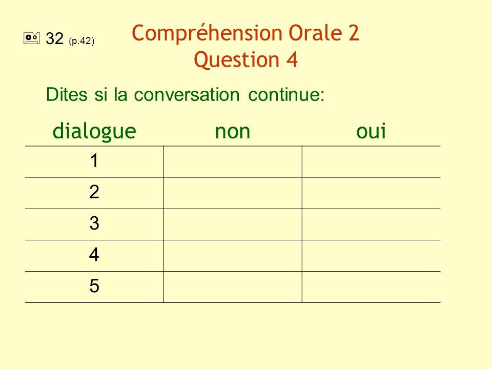 Compréhension Orale 2 Question 4 Dites si la conversation continue: dialoguenonoui 1 2 3 4 5 32 (p.42)