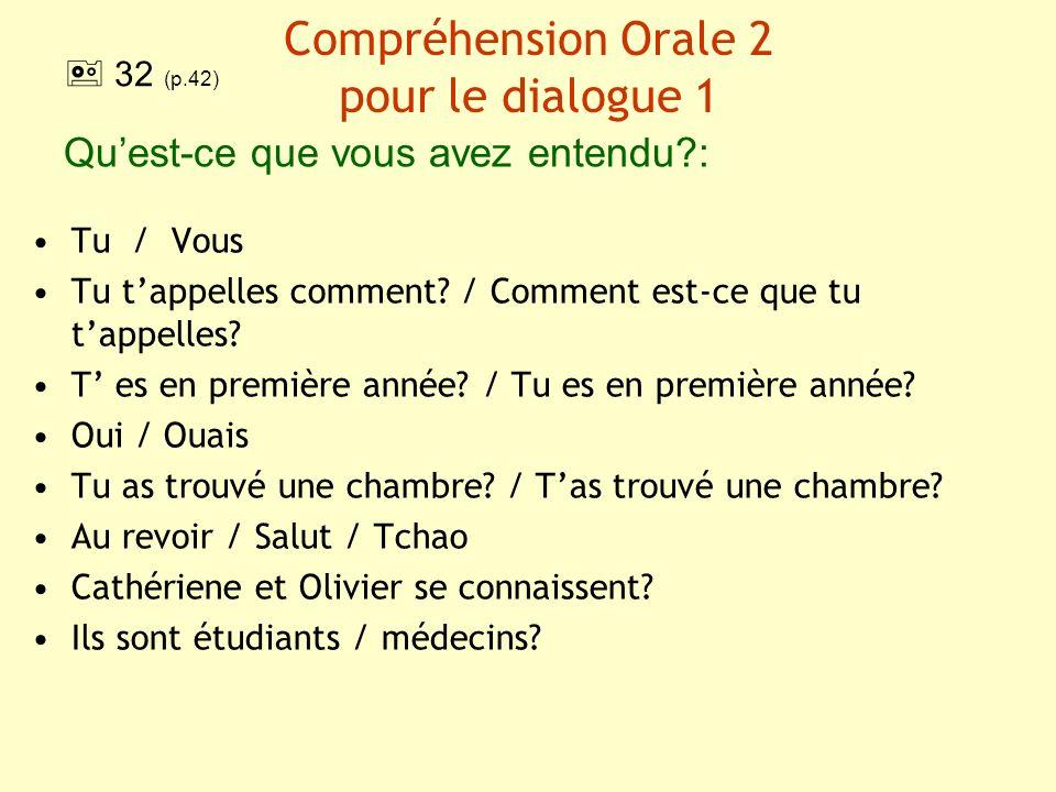 Compréhension Orale 2 pour le dialogue 1 Quest-ce que vous avez entendu?: Tu / Vous Tu tappelles comment? / Comment est-ce que tu tappelles? T es en p