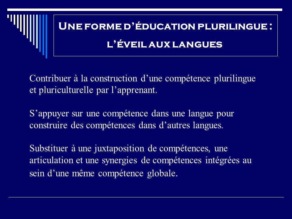 Une forme déducation plurilingue : léveil aux langues Contribuer à la construction dune compétence plurilingue et pluriculturelle par lapprenant. Sapp