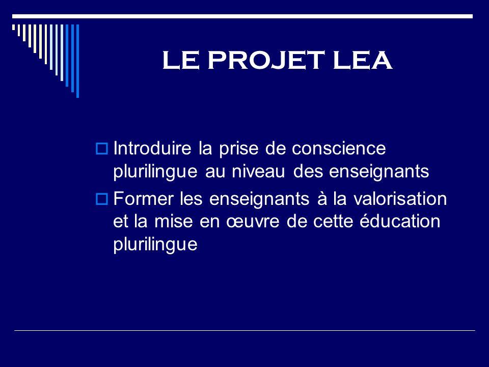 LE PROJET LEA Introduire la prise de conscience plurilingue au niveau des enseignants Former les enseignants à la valorisation et la mise en œuvre de