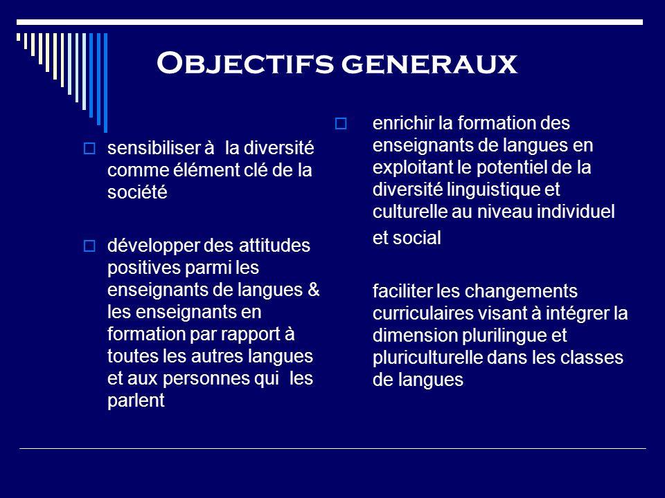 Objectifs generaux sensibiliser à la diversité comme élément clé de la société développer des attitudes positives parmi les enseignants de langues & l