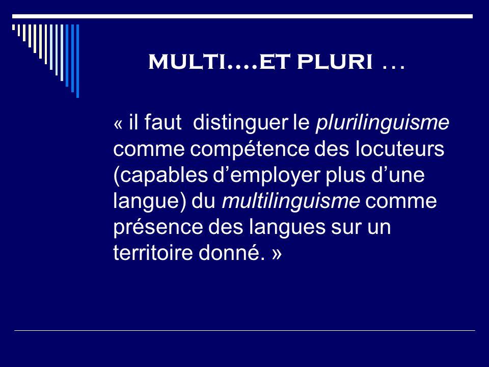 multi….et pluri … « il faut distinguer le plurilinguisme comme compétence des locuteurs (capables demployer plus dune langue) du multilinguisme comme