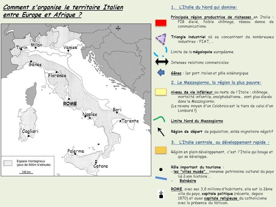 Turin Gênes ROME Cagliari Palerme Catane Naples Bari Florence Venise Tarente Milan 1. LItalie du Nord qui domine: Principale région productrice de ric