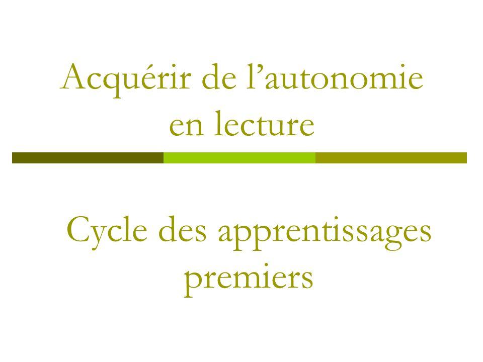 Acquérir de lautonomie en lecture Cycle des apprentissages premiers