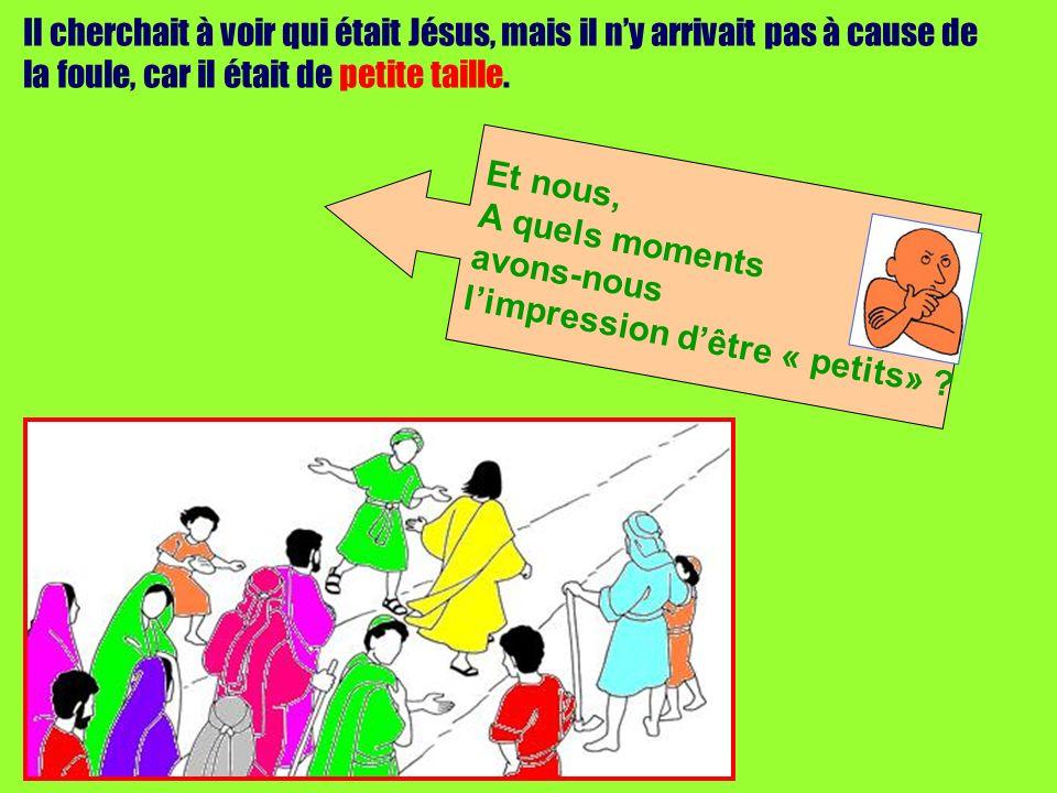 Il cherchait à voir qui était Jésus, mais il ny arrivait pas à cause de la foule, car il était de petite taille. Et nous, A quels moments avons-nous l